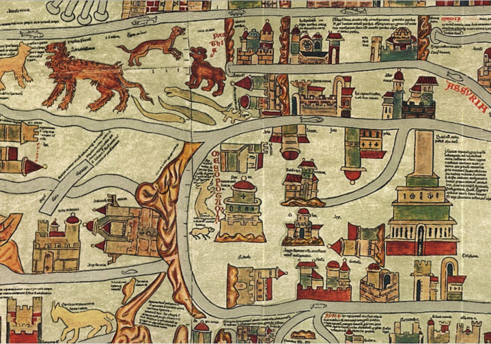 Detail from the famous Ebstorf World Map, created ca. 1300 in a Northern German monastery