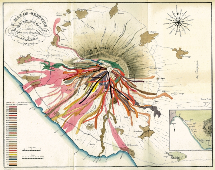 A Map of Vesuvius by John Auldjo (1832), courtesy University of Otago, New Zealand & Phaidon