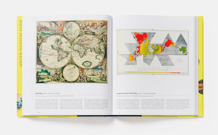 Double spread pairing Gerard van Schagen's 1689 world map (on the left) with Buckminster Fuller's Dymaxion Airocean World Map (1954) on the right