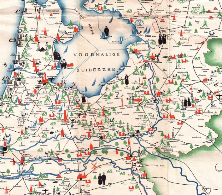Detail from a 1938 tourist map of the Netherlands, to be found on InformForm's map section